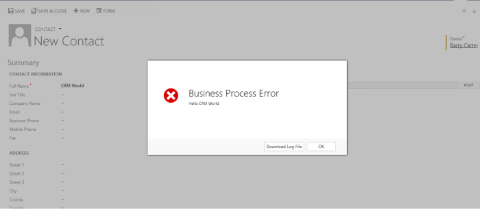 Real Time Workflow Error Message